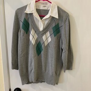 Argyle Sweater with Faux Button Up